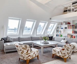 Bright White Attic Penthouse in Stockholm