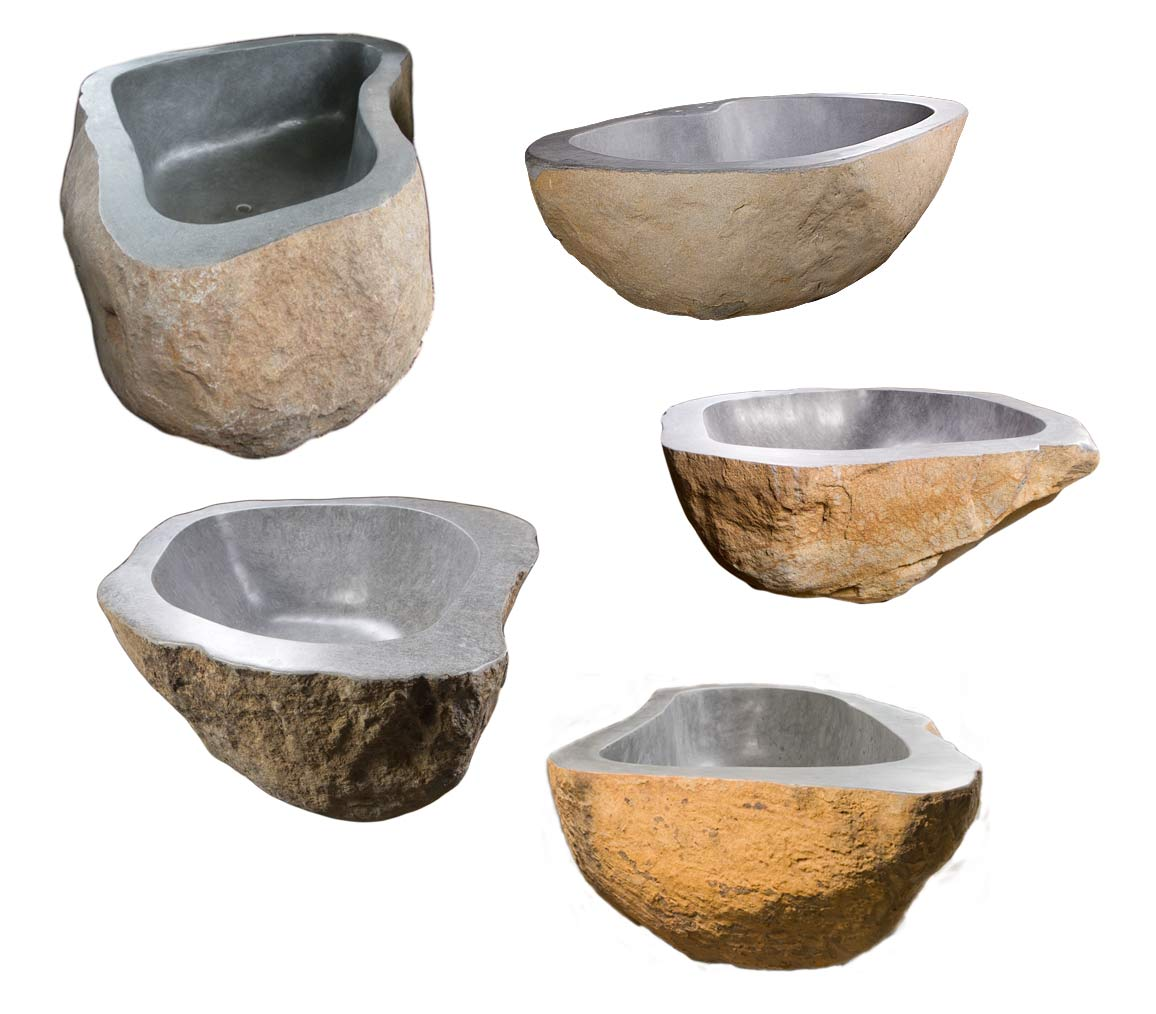 Hand sculpted bathtubs, made with natural stone and granite boulders