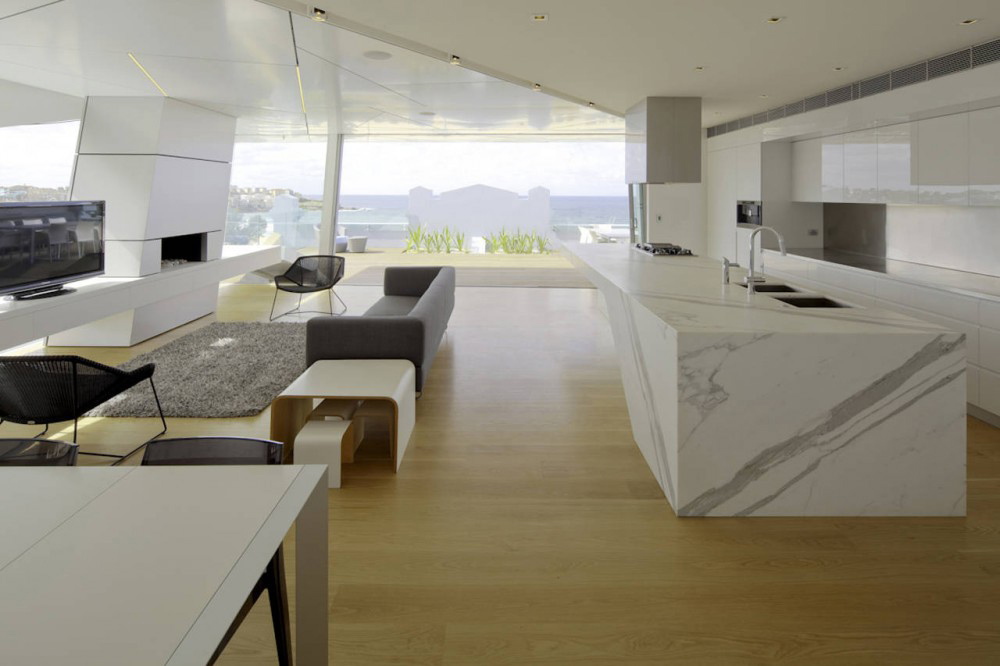 Living Space & Kitchen, Bondi Penthouse by MPR Design Group