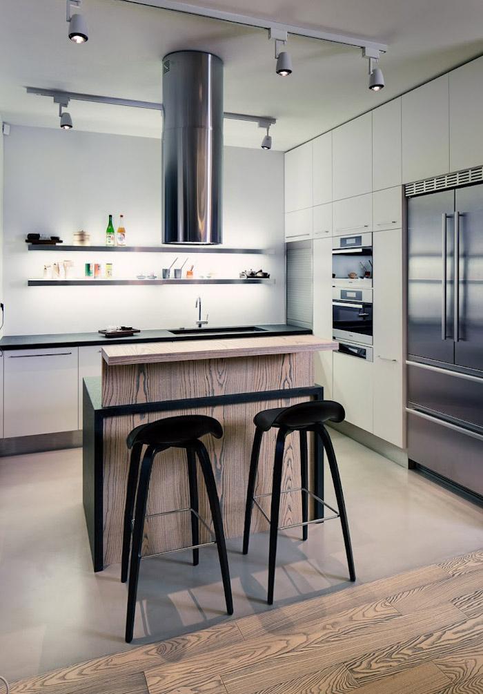 Kitchen, Loft in Bratislava by Atelier SAD