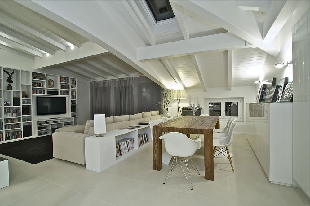 Dining & Living space, Penthouse in Sondrio, Italy by Fabio Gianoli