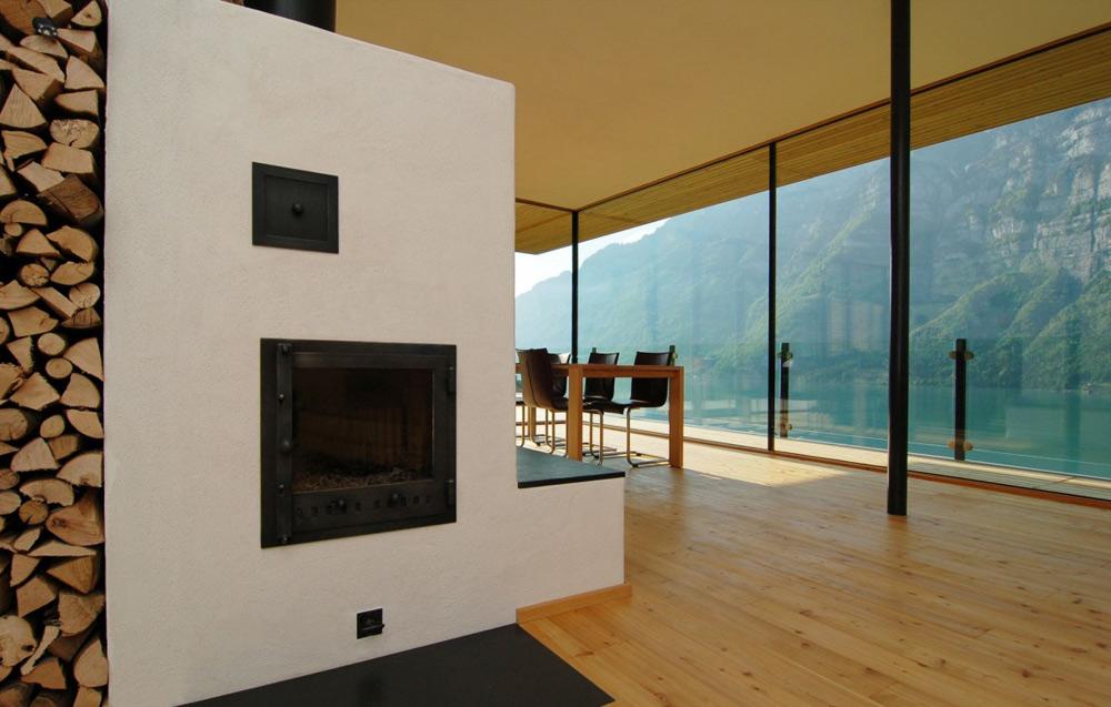 Fireplace, Wohnhaus Am Walensee by K_M Architektur