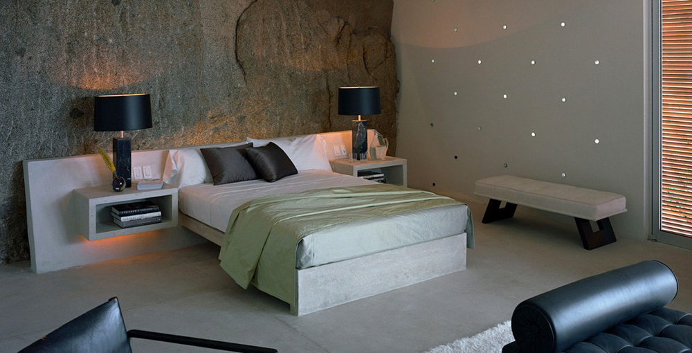 Bedroom, Casa Finisterra, Baja California Sur, Mexico by Steven Harris Architects