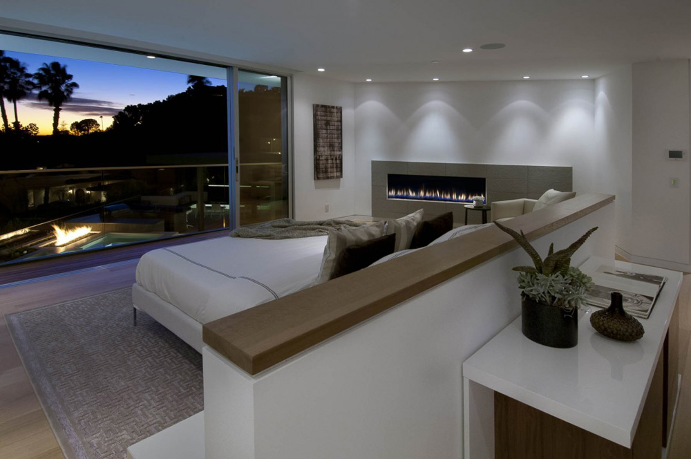 Bedroom, Fireplace, Doheny Residence, Hollywood Hills by Luca Colombo Design