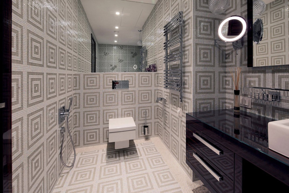 Bathroom, Shuvalovsky Apartment, Moscow by Geometrix Design