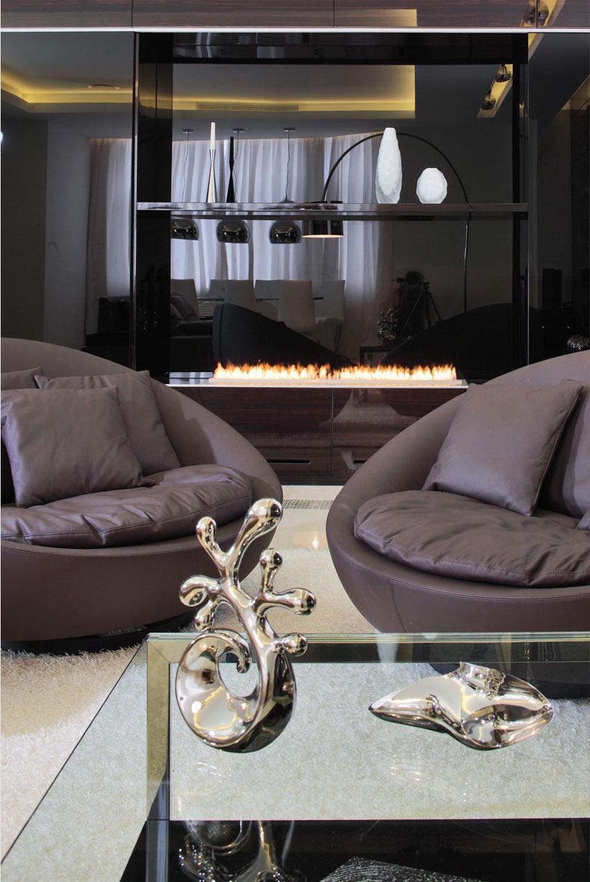 Fireplace, Shuvalovsky Apartment, Moscow by Geometrix Design