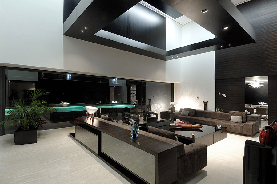 Living Space in the Evening, The Vivienda 19 by A-cero