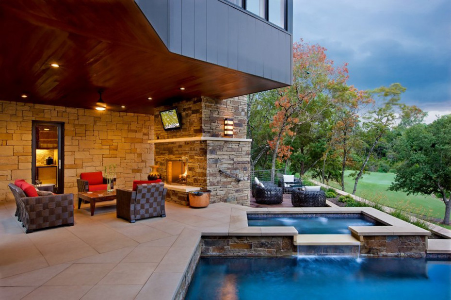 Pool & Outside Living, Westlake Drive House by James D. LaRue Architects