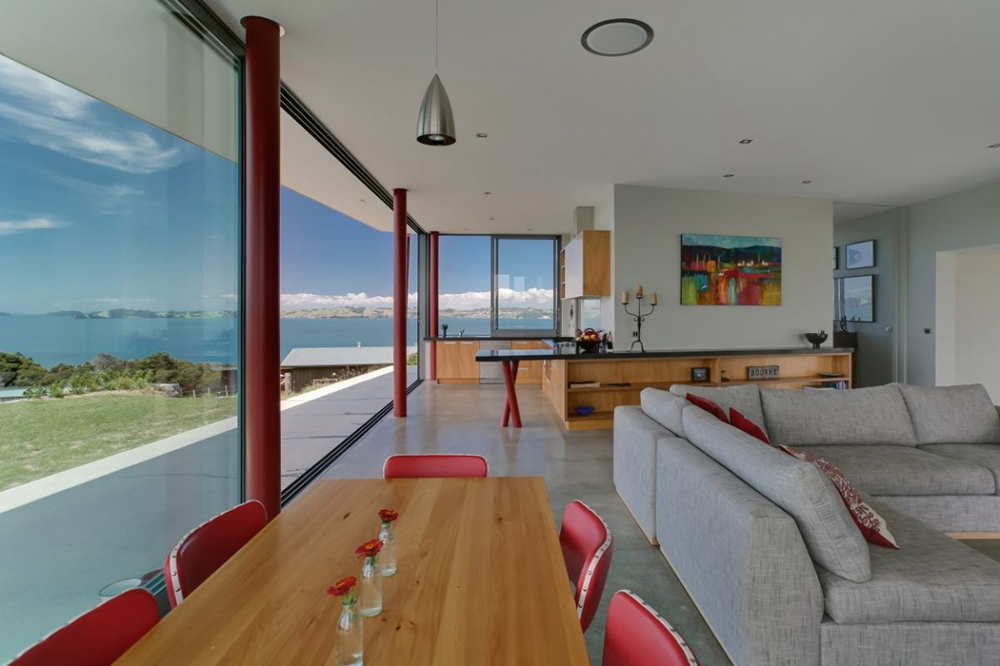 Dining & Living Room, Bourke House, New Zealand by Pacific Environments Architects