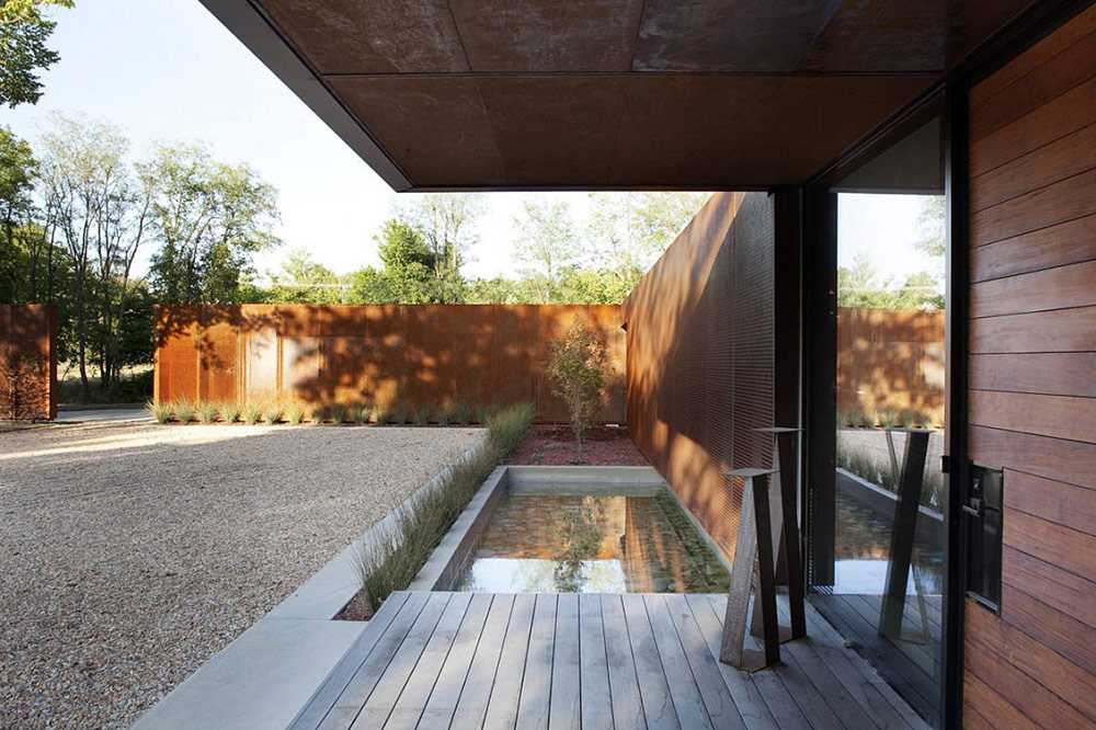 Entrance & Water Feature, Heavy Metal Residence, Missouri by Hufft Projects