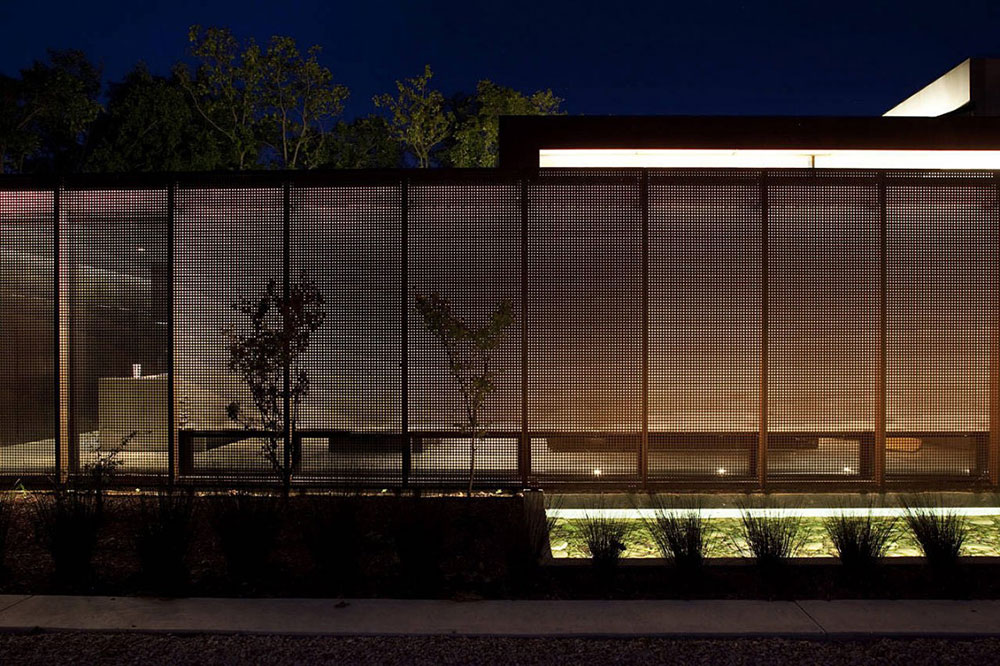 Water Feature Lighting, Heavy Metal Residence, Missouri by Hufft Projects