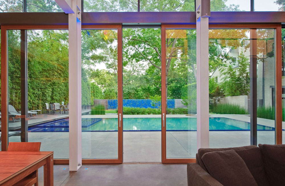8 Foot Wide Glass Doors, House in the Garden, Dallas by Cunningham Architects