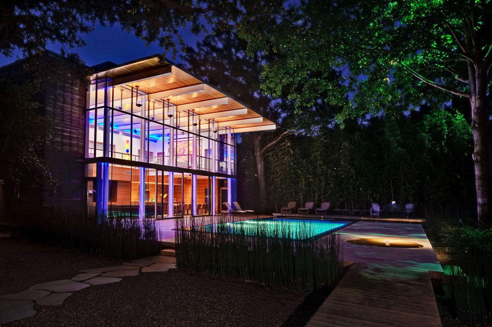 Lights at Night, House in the Garden, Dallas by Cunningham Architects