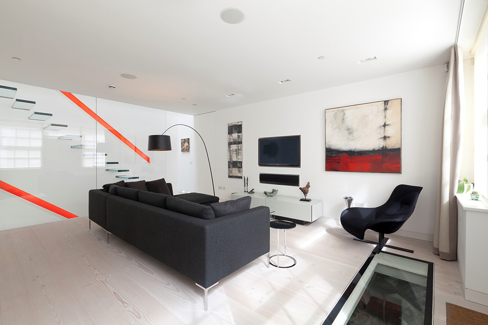 Living Room, Small Mews House in Notting Hill