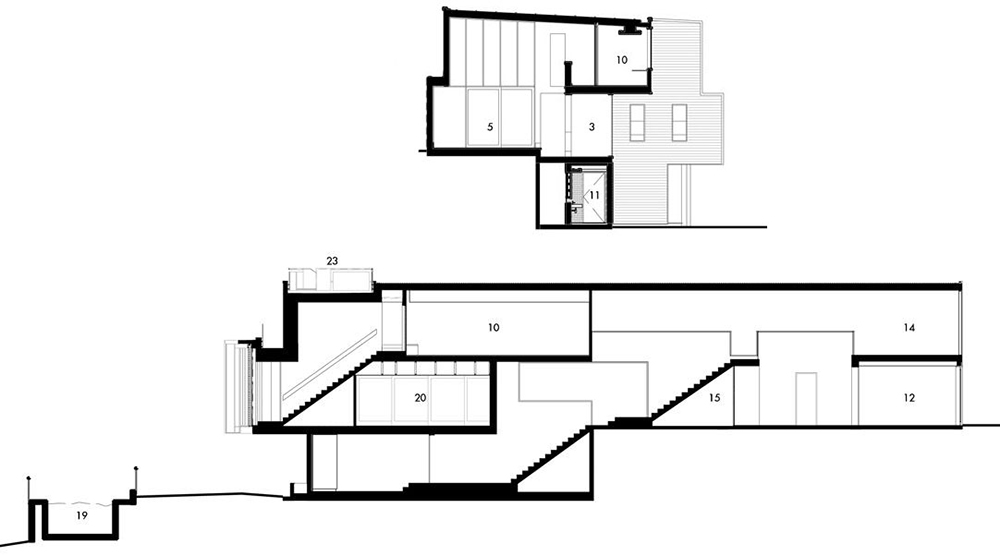 Sections, Rosalie Residence, Brisbane by Richard Kirk Architects