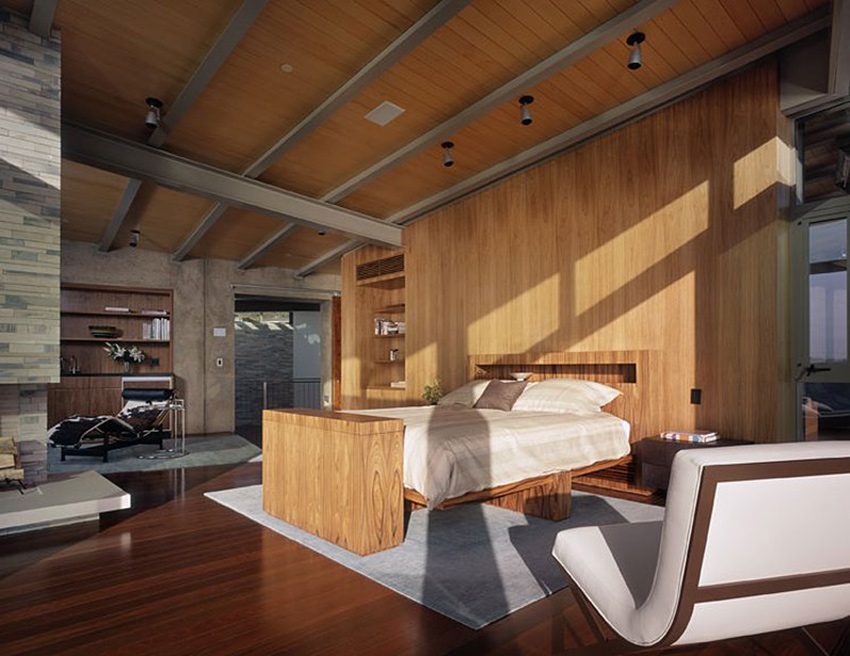 Bedroom, Altamira Residence, California by Marmol Radziner