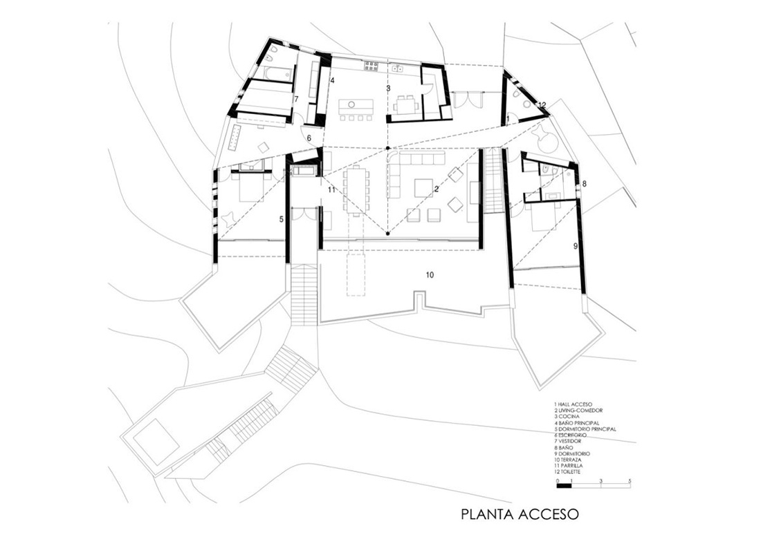 Plan, Casa S, Mountain House in Argentina by Alric Galindez Architects