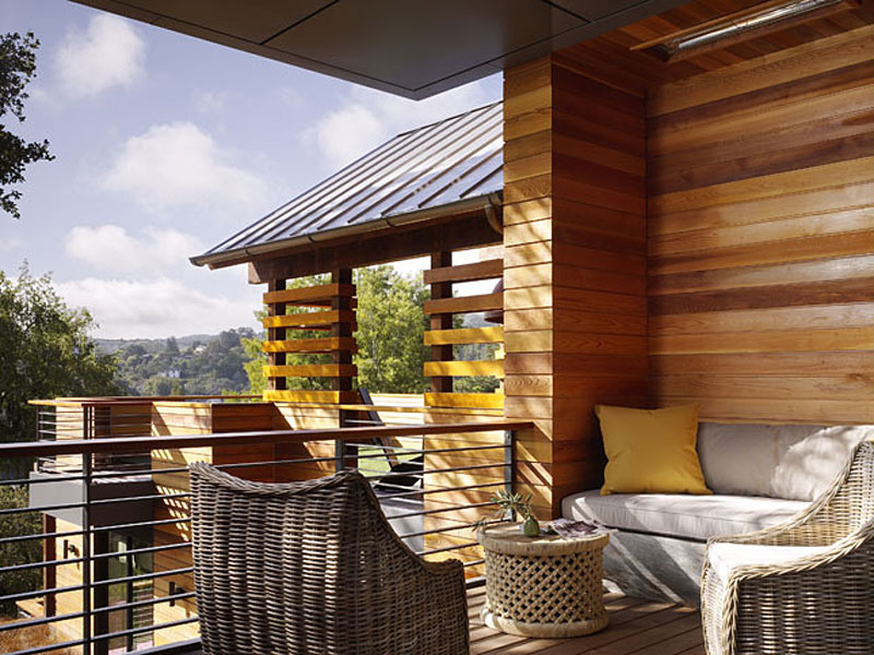 Balcony Living Space, Hillside House, California by SB Architects