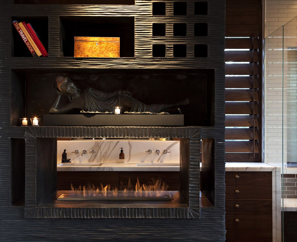 Contemporary Fireplace, Hillside House, California by SB Architects
