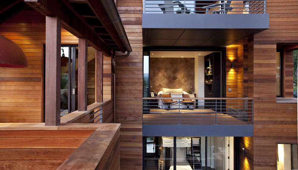 Bedroom & Balcony, Breakfast Bar, Hillside House, California by SB Architects
