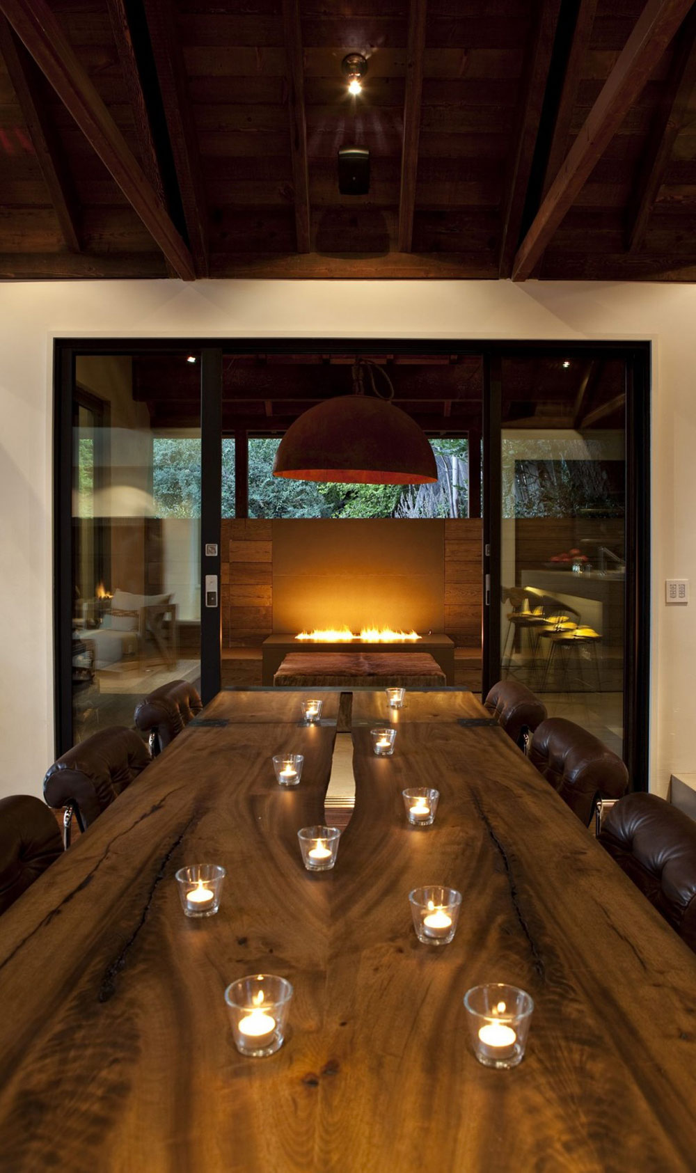 Dining Table, Contemporary Fireplace, Hillside House, California by SB Architects