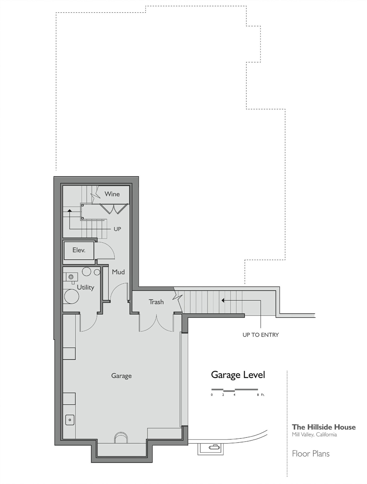 Floor Plan, Garage Level, Hillside House, California by SB Architects