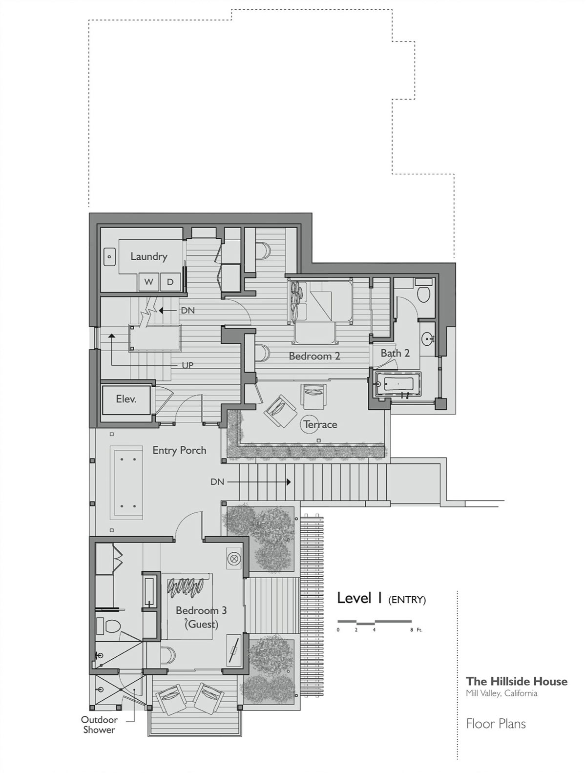 Floor plan level 1 hillside house california by sb for House plans by architects