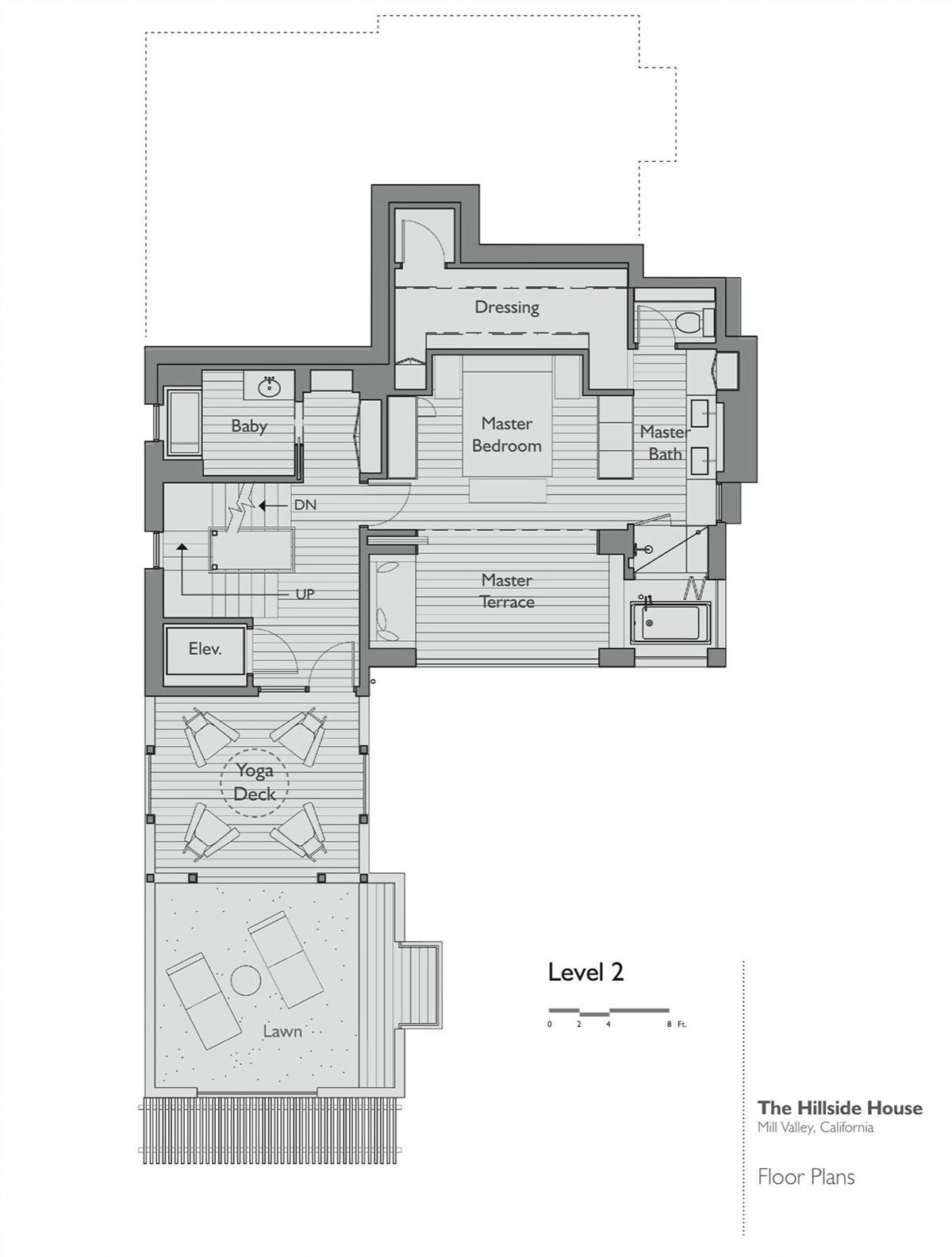 Floor plan level 2 hillside house california by sb for Hillside house plans