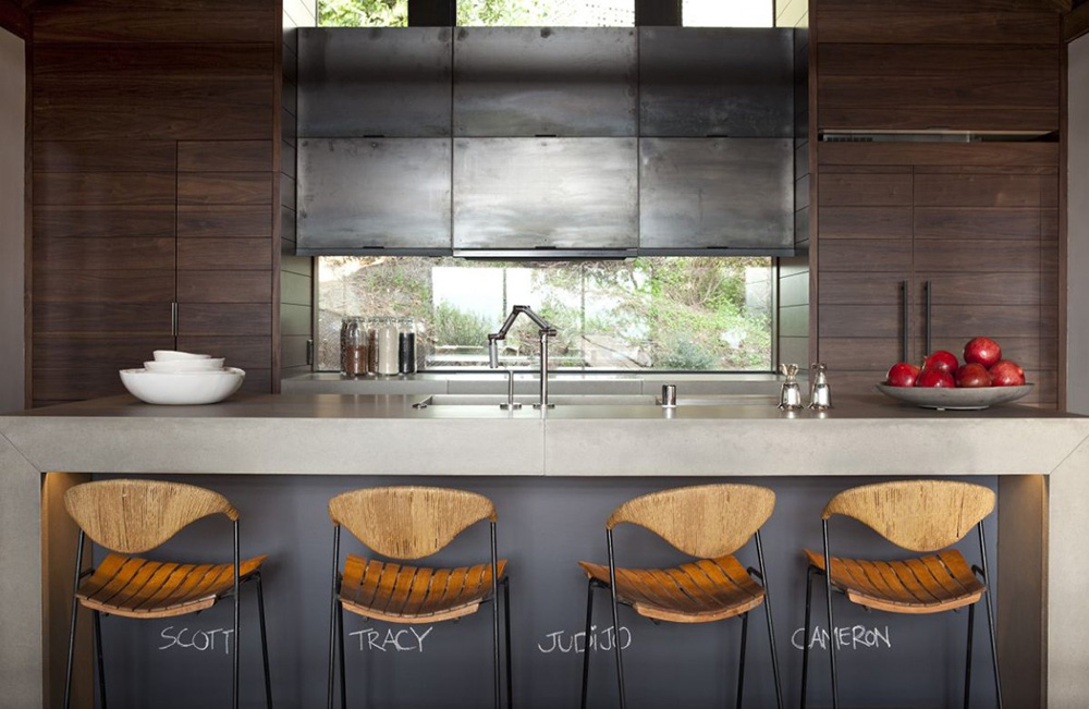 Kitchen, Breakfast Bar, Hillside House, California by SB Architects