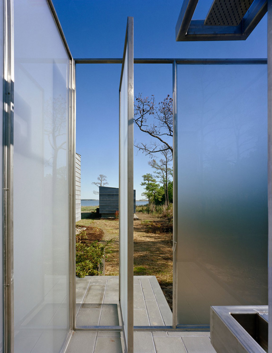 Outdoor Shower, Hoopers Island Residence, Maryland by David Jameson Architect