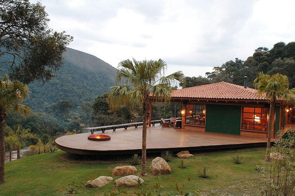Fire Pit, Terrace, House in Itaipava, Brazil by Cadas Architecture