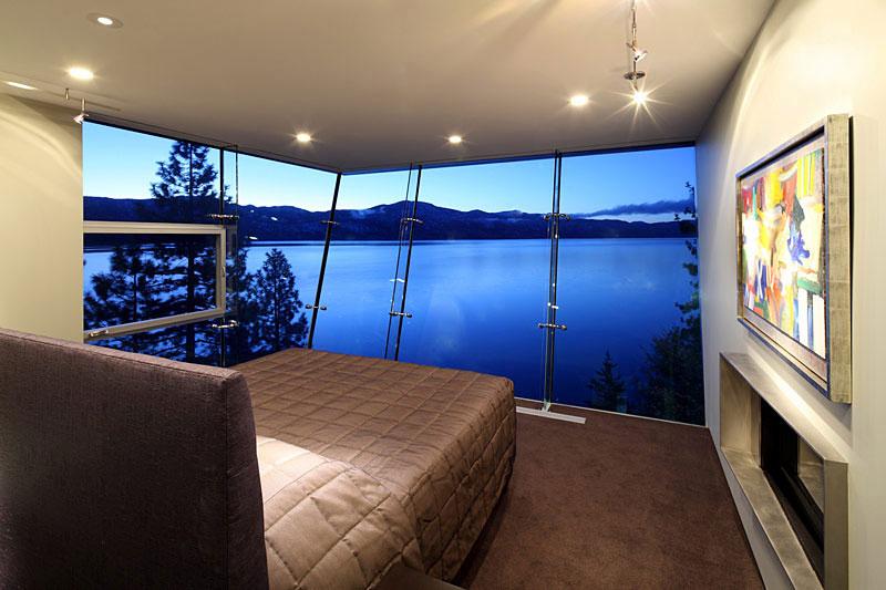 Bedroom, Lake House, Lake Tahoe by Mark Dziewulski Architect