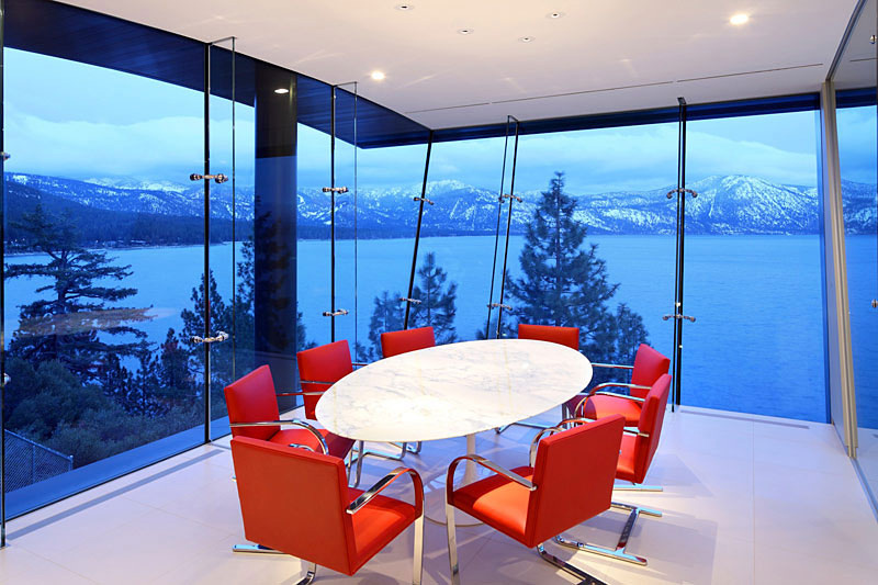 Dining Room View, Lake House, Lake Tahoe by Mark Dziewulski Architect