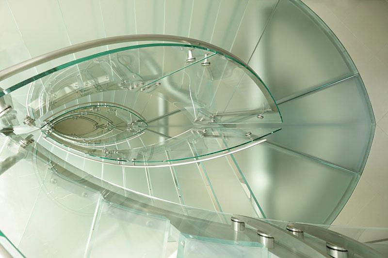 Glass Staircase, Lake House, Lake Tahoe by Mark Dziewulski Architect