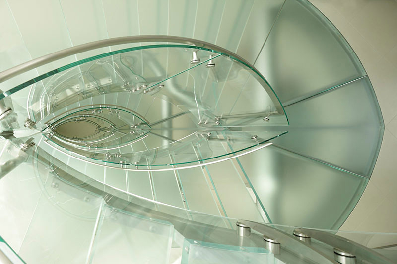 Glass Staircase, Lake House, Lake Tahoe by Mark Dziewulski Architect