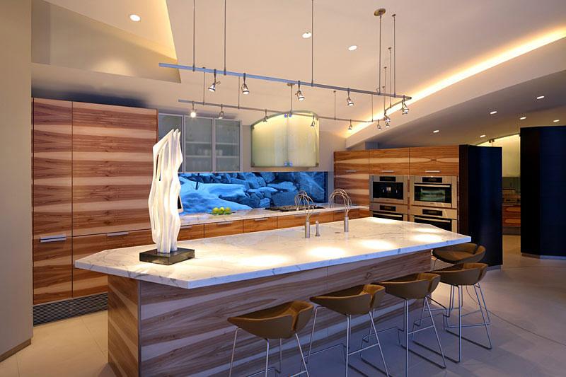 Kitchen, Breakfast Table, Lake House, Lake Tahoe by Mark Dziewulski Architect