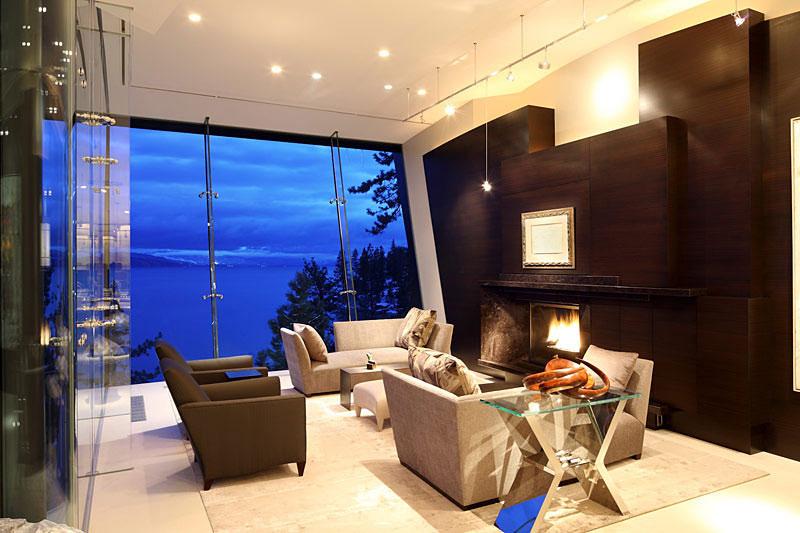 Living Space, Fireplace, Lake House, Lake Tahoe by Mark Dziewulski Architect