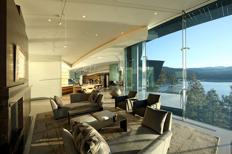 Living Space, Glass Walls, Lake House, Lake Tahoe by Mark Dziewulski Architect
