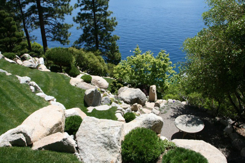 Terrace, Garden, Lake House, Lake Tahoe by Mark Dziewulski Architect