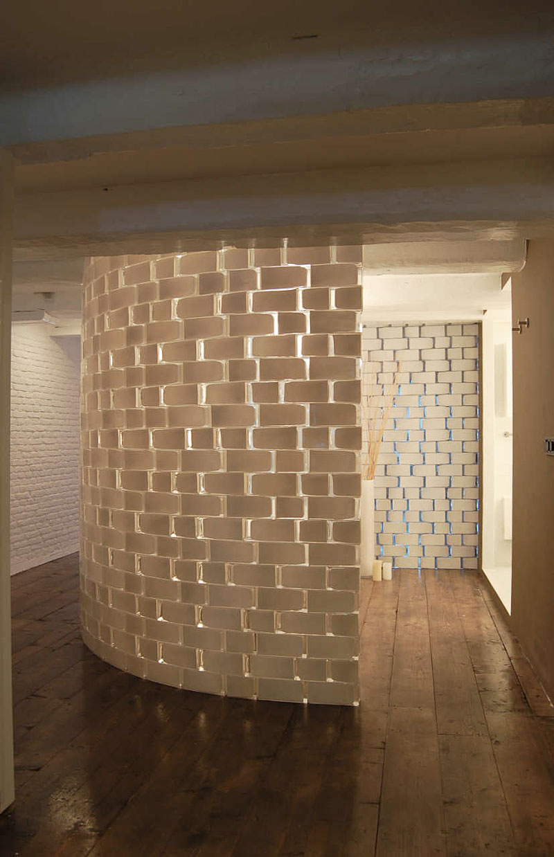 White Brick Wall, Bathroom, Brouwersgracht Apartment, Amsterdam by CUBE and SOLUZ