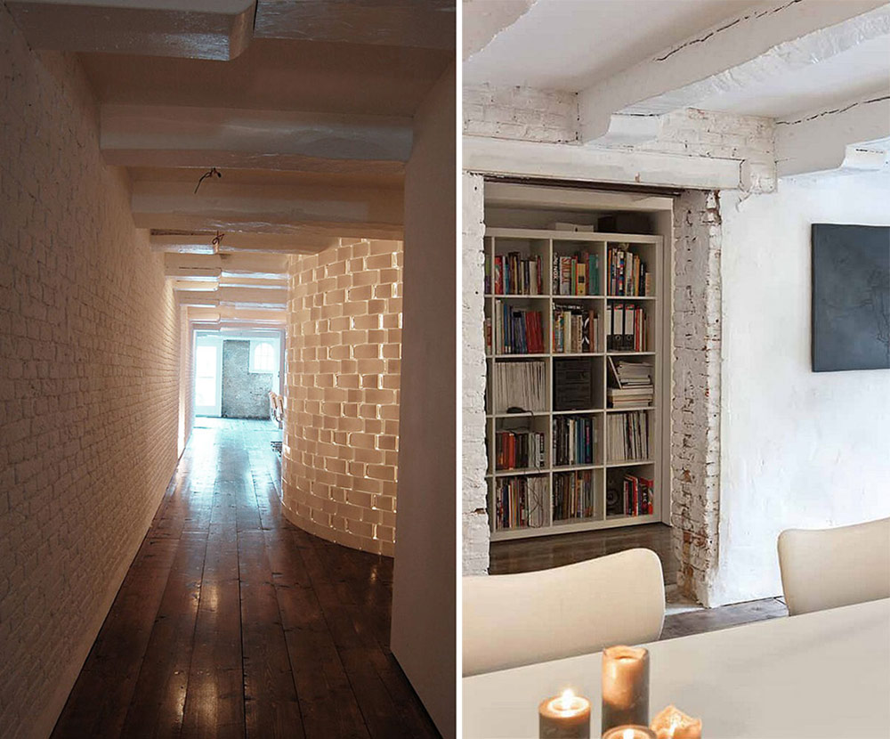 Hall, Bookshelf, Brouwersgracht Apartment, Amsterdam by CUBE and SOLUZ