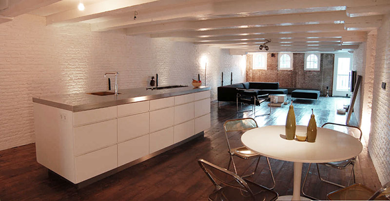 Kitchen, Dining, Brouwersgracht Apartment, Amsterdam by CUBE and SOLUZ