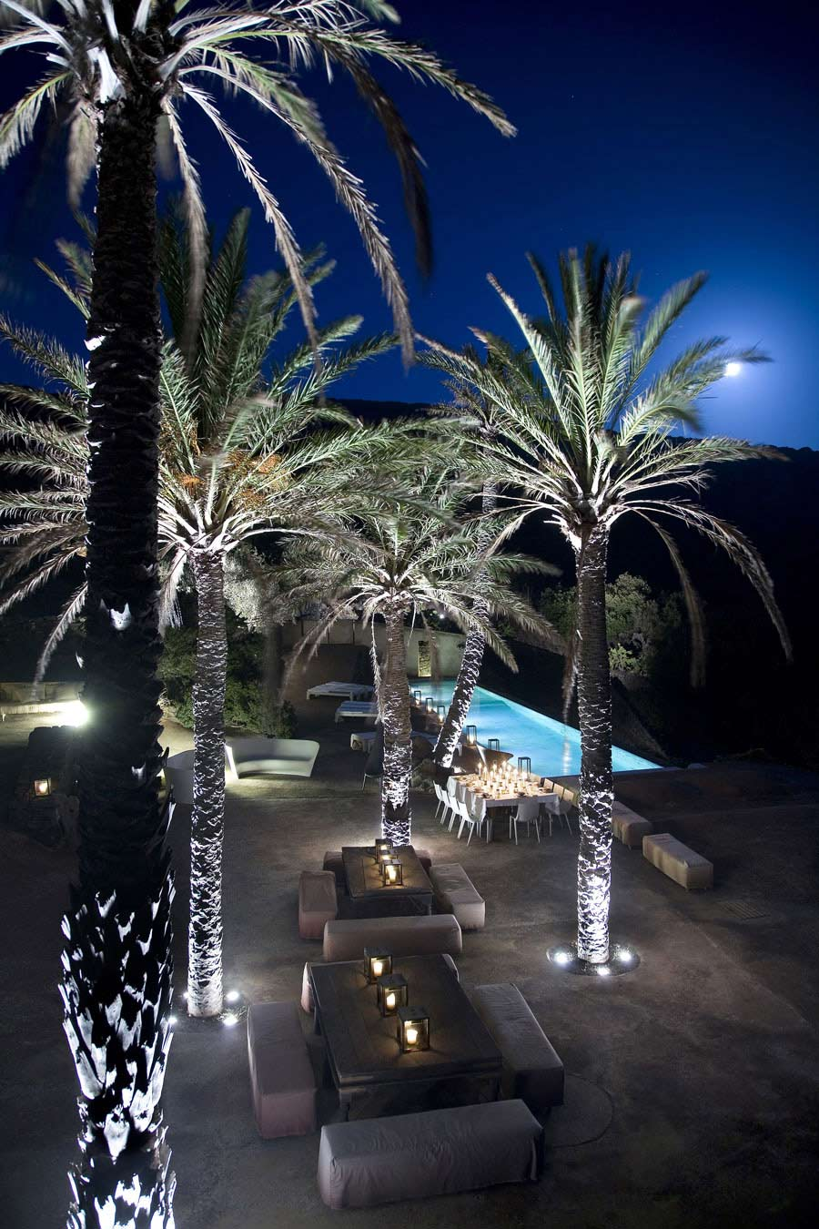 Evening Outdoor Dining, Pool Lights, Casa Albanese, Island of Pantelleria, Italy by ASA Studio Albanese