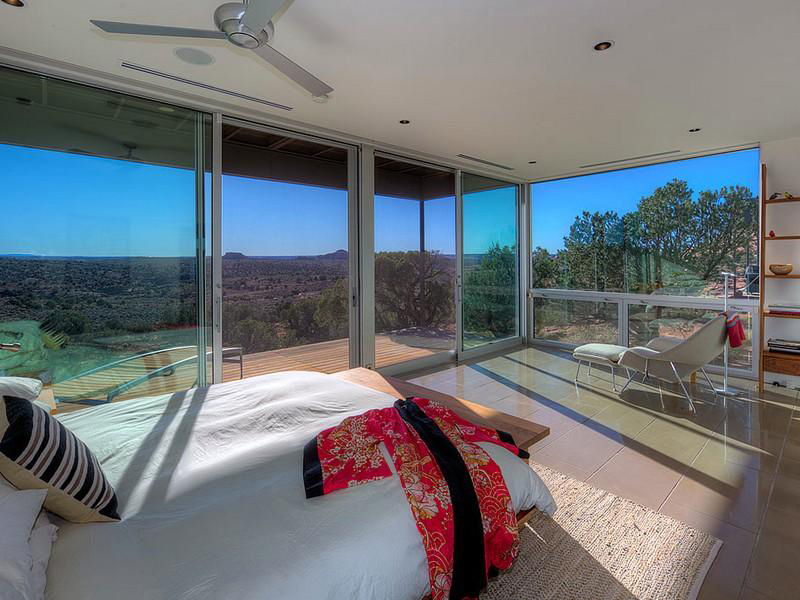 Bedroom, Glass Walls, Hidden Valley House, Utah by Marmol Radziner