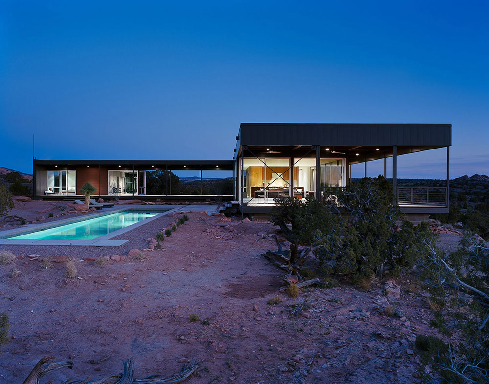 Evening, Pool Lights, Hidden Valley House, Utah by Marmol Radziner