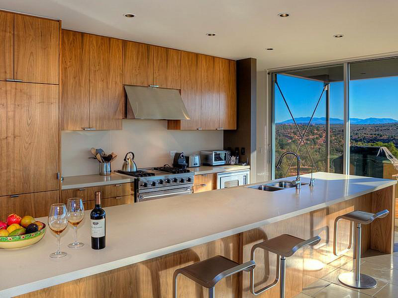 Kitchen, Breakfast Bar, Hidden Valley House, Utah by Marmol Radziner