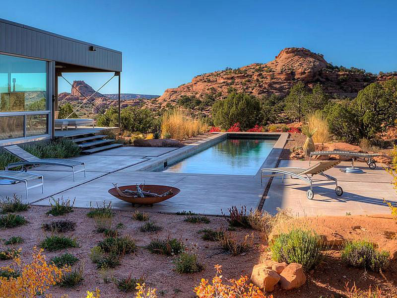 Terrace & Outdoor Pool, Hidden Valley House, Utah by Marmol Radziner