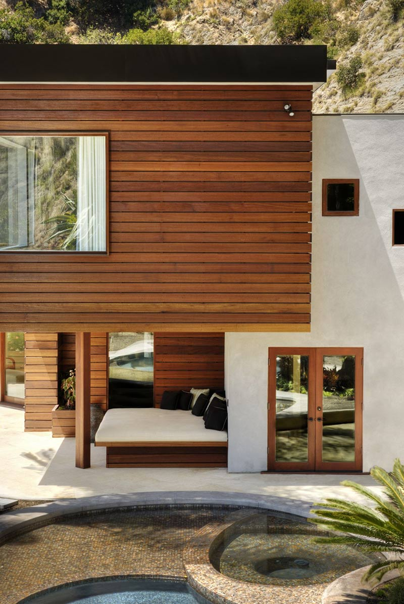 Outdoor Bed, Pool, Jacuzzi, Swimming Pool, Hollywood Hills Residence by fer Studio