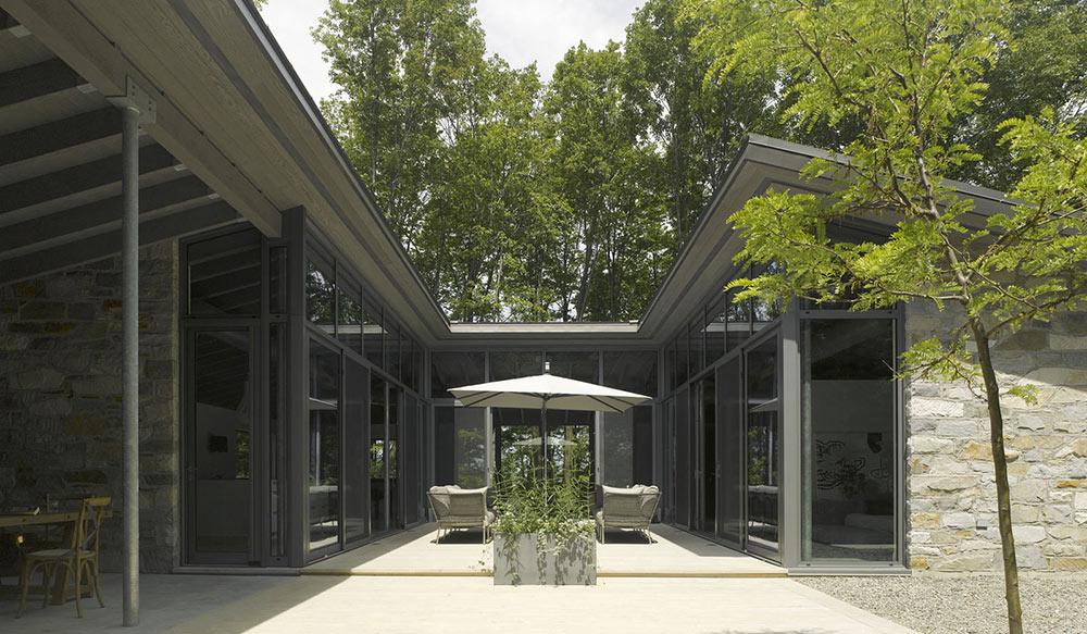 Courtyard, Maison de Bromont, Quebec, Canada by Paul Bernier