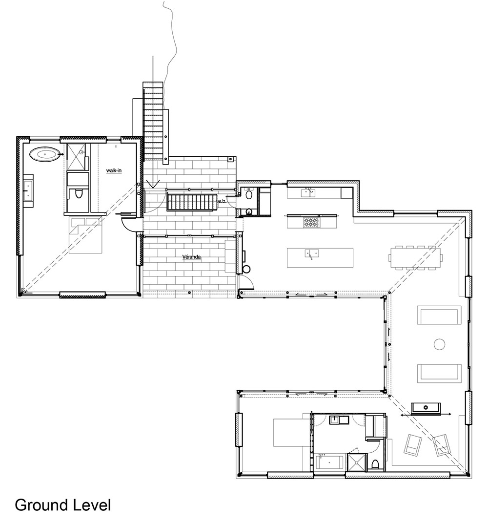 Turbo Ground Level Plan, Maison de Bromont, Quebec, Canada by Paul Bernier TL84